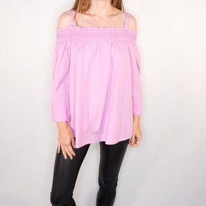 CARLISLE New York Hyacinth Pink Smocked Top Cold